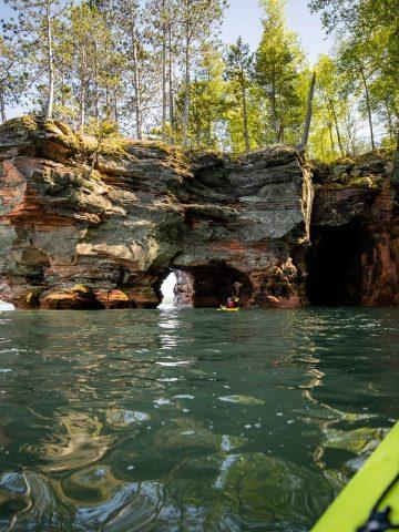 Kayaking Along Sea Caves at Apostle Islands in Bayfield