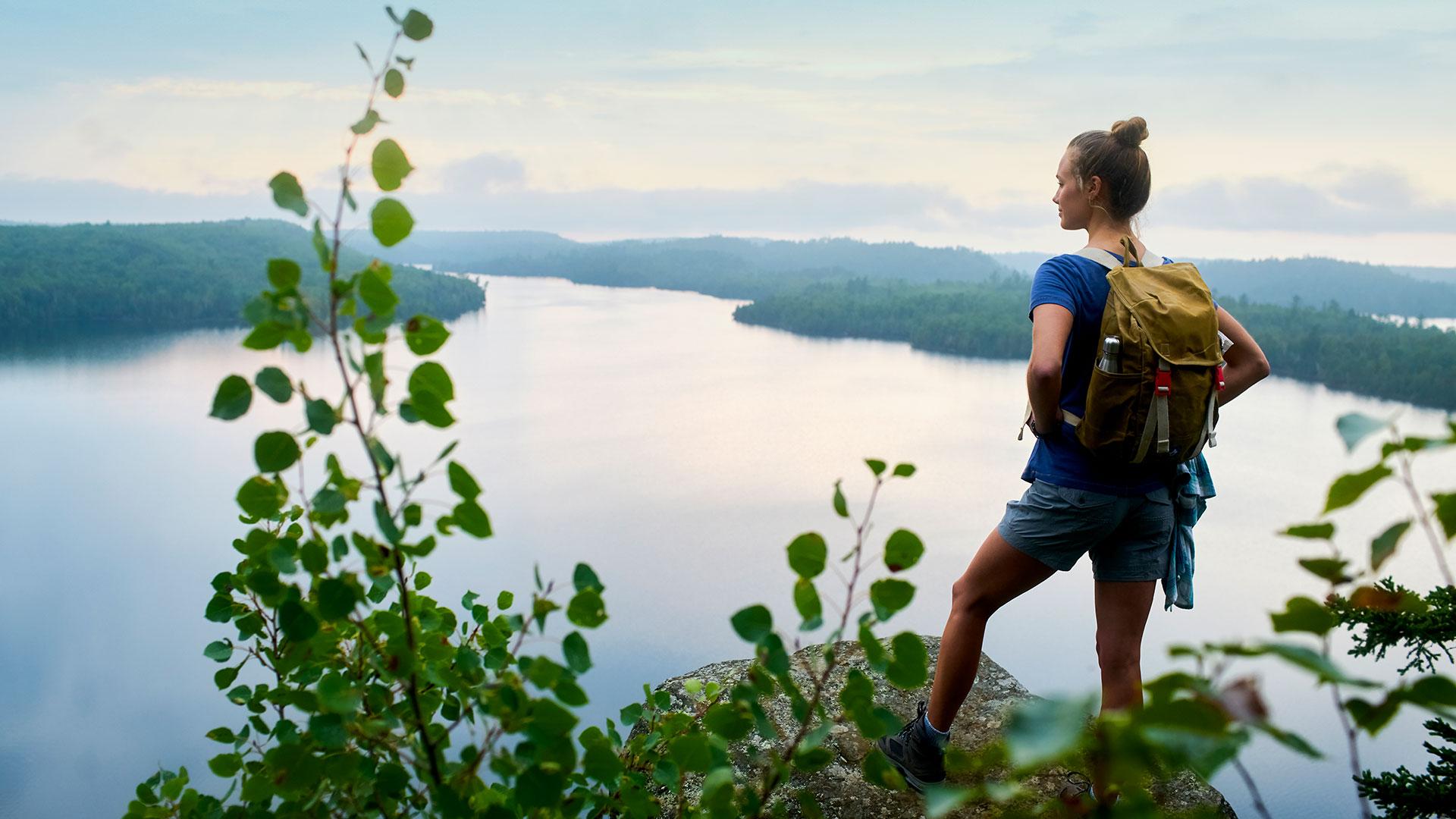 Grand Marais Honeymoon Bluff Woman Hiking