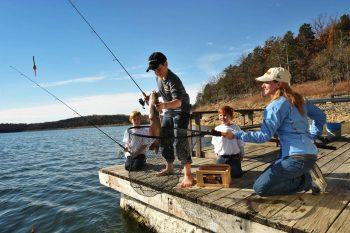 Family fishing on Norfork Lake